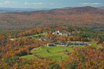 An aerial view of Steele Hill during foliage season