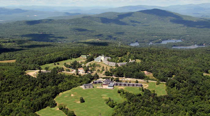 An aerial view of Steele Hill Resorts and the surrounding forests