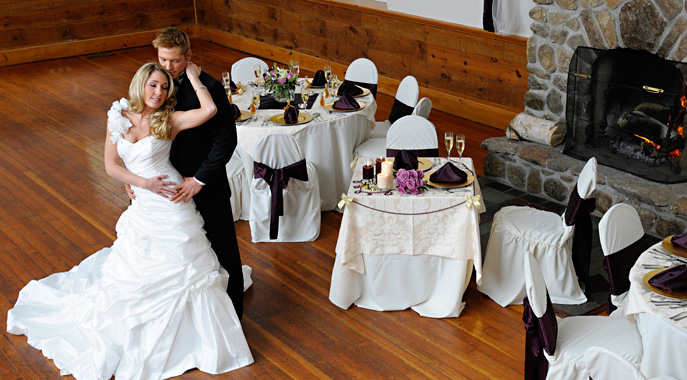 A romantic dance during a winter wedding at the Carriage House