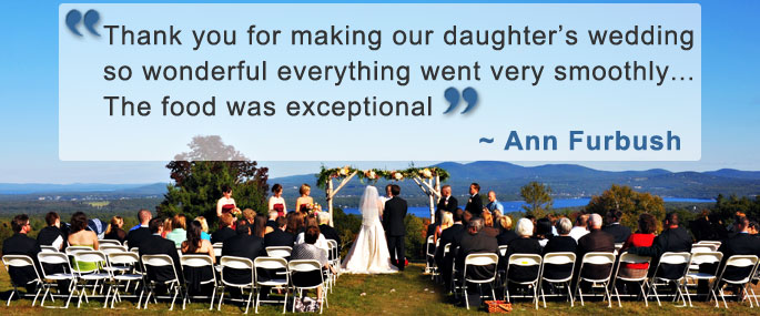 A wedding ceremony overlooking Lake Winnisquam with a testimonial quote.