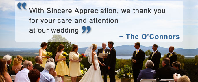 A bride and groom in the midst of a ceremony with an accompanying testimonial quote.