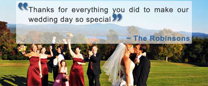 A smiling bride and an accompanying testimonial quote.